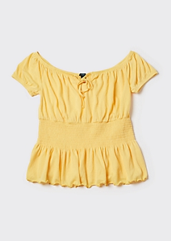 Plus Yellow Off Shoulder Peplum Top