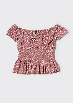 Plus Pink Ditsy Floral Print Off Shoulder Peplum Top