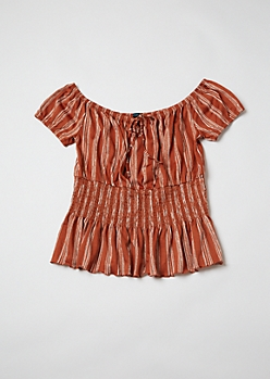 Plus Burnt Orange Striped Off Shoulder Peplum Top