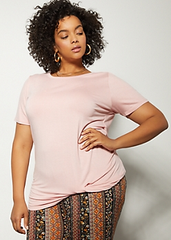 Plus Pink Favorite Knot Front Tee