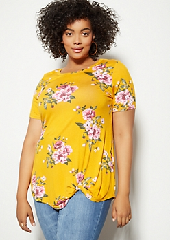 Plus Mustard Floral Print Favorite Knot Front Tee