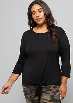 Plus Black Three Quarter Sleeve Tie Front Tee