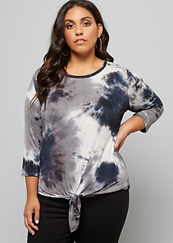 Plus Navy Tie Dye Three Quarter Sleeve Tie Front Tee