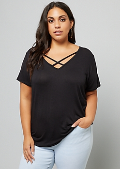 Plus Black Strappy V Neck High Low Tee