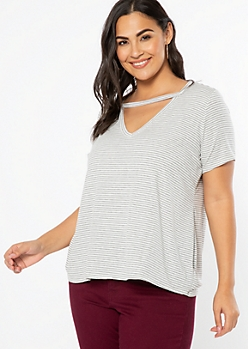 Plus White Striped Cutout V Neck Tee