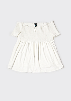 Plus Cream Smocked Babydoll Top