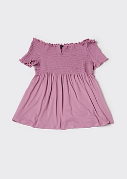 Plus Mauve Smocked Babydoll Top
