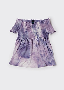 Plus Purple Tie Dye Smocked Babydoll Top