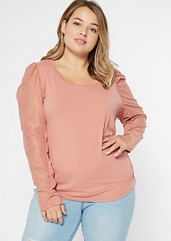 Plus Pink Puff Shoulder Lace Sleeve Top