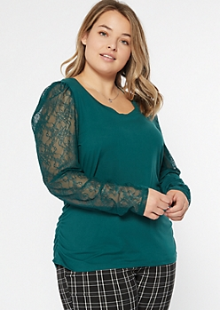 Plus Teal Puff Shoulder Lace Sleeve Top