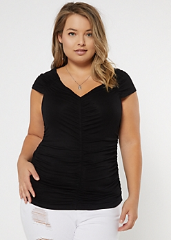 Plus Black V Neck Ruched Tee