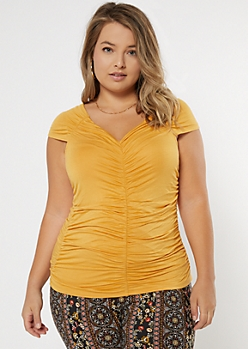 Plus Mustard V Neck Ruched Tee