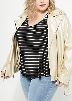 Plus Black Striped Relaxed V-Neck Favorite Tee
