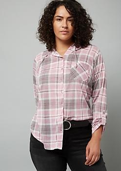 Plus Gray Plaid Print Hooded Button Down Shirt