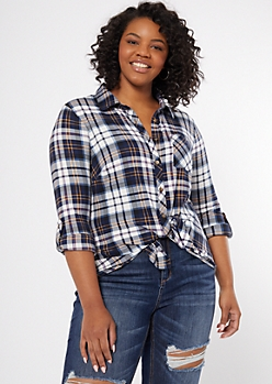 Plus Navy Plaid Print Super Soft Shirt