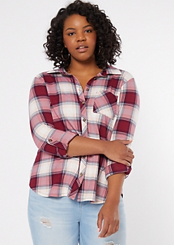 Plus Dark Pink Plaid Print Super Soft Shirt