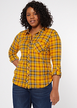 Plus Mustard Plaid Print Super Soft Shirt