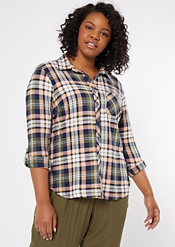 Plus Peach Plaid Print Super Soft Shirt