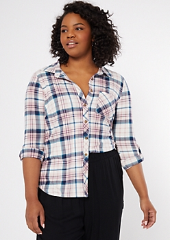 Plus Pastel Pink Plaid Print Super Soft Shirt