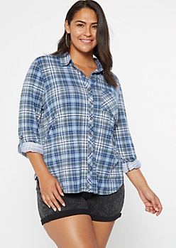 Plus Blue Plaid Roll Tab Button Down Shirt