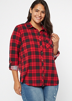 Plus Red Plaid Roll Tab Button Down Shirt