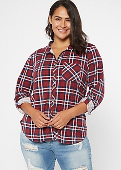Plus Burgundy Plaid Roll Tab Button Down Shirt