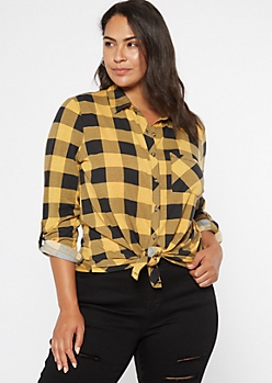 Plus Yellow Plaid Roll Tab Button Down Shirt