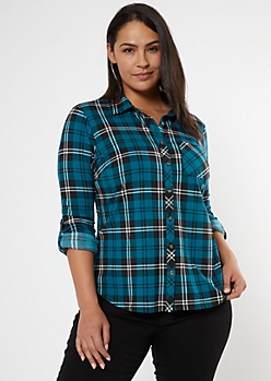 Plus Teal Plaid Roll Tab Button Down Shirt