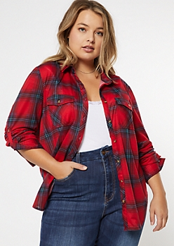 Plus Dark Red Plaid Pocket Shirt
