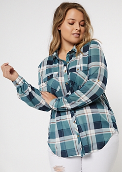 Plus Teal Plaid Pocket Shirt