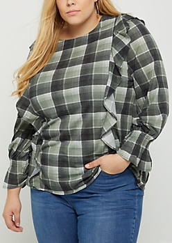 Plus Olive Plaid Print Ruffled Flannel Top