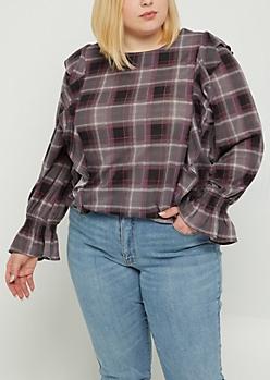 Plus Purple Plaid Print Ruffled Flannel Top