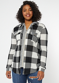 Plus Black Checkered Plaid Print Hooded Shirt