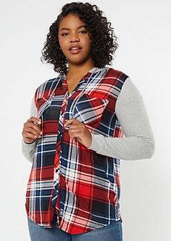 Plus Red Plaid Print Colorblock Hooded Shirt
