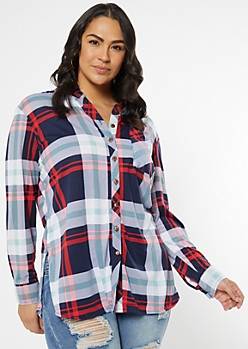 Plus Navy Chest Pocket Boyfriend Plaid Print Shirt