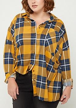Plus Mustard Tartan Plaid Boyfriend Shirt