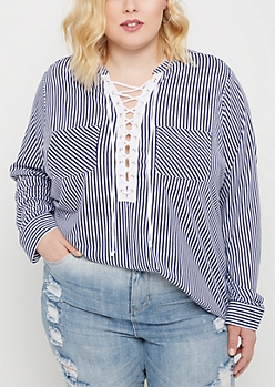 Plus Navy Striped Pattern Lace Up Blouse