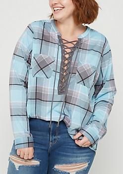 Plus Teal Plaid Print Lace Up Shirt