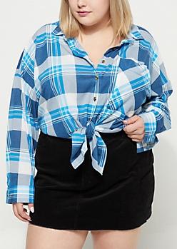 Plus Blue Plaid Print Boyfriend Shirt