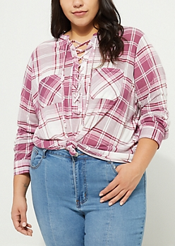 Plus Pink Lace Up Plaid Print Boyfriend Shirt