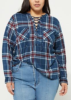 Plus Navy Lace Up Plaid Print Boyfriend Shirt