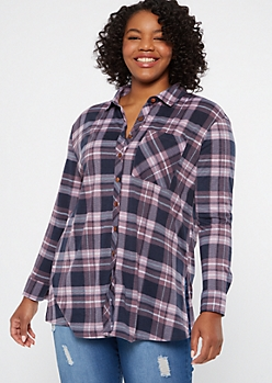 Plus Purple Plaid Print Button Down Shirt