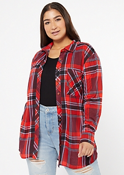 Plus Dark Red Chest Pocket Boyfriend Plaid Print Shirt