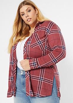 Plus Dark Pink Chest Pocket Boyfriend Plaid Print Shirt