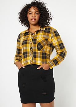 Plus Mustard Chest Pocket Boyfriend Plaid Print Shirt