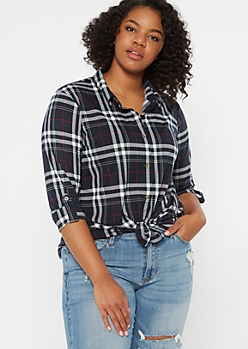 Plus Navy Plaid Print Button Down Shirt