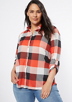Plus Coral Plaid Print Button Down Shirt