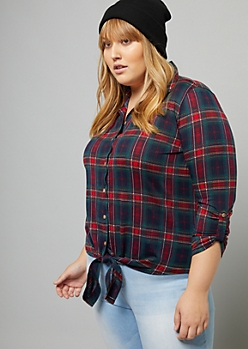 Plus Red Plaid Print Tie Front Shirt