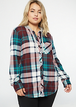 Plus Teal Plaid Print Hooded Shirt