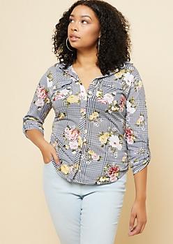 Plus Black Floral Plaid Print Button Down Shirt